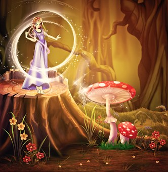 petite fée des bois, robe violette entourée d'un halo magique