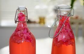 bouteille avec clips de fermeture dans lesquelles il y a du jus de fruits fermentés.