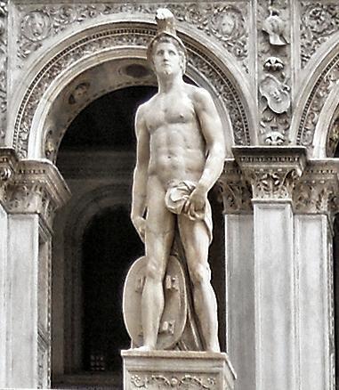 statue du dieu mars nu a Venise