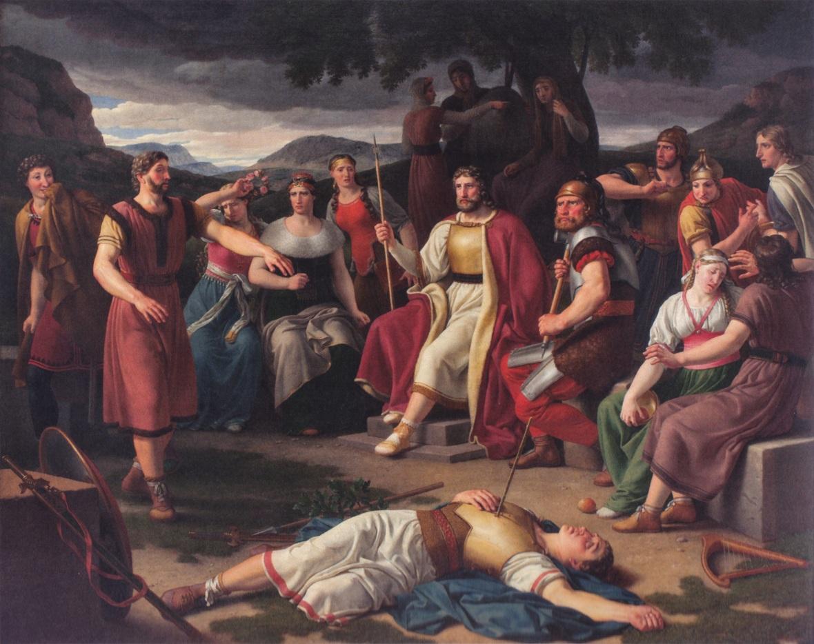 tableau de Christoffer Vilhelm Eckersberg peintre danois. qui represente la scene de la mort de Baldr le dieu nordique
