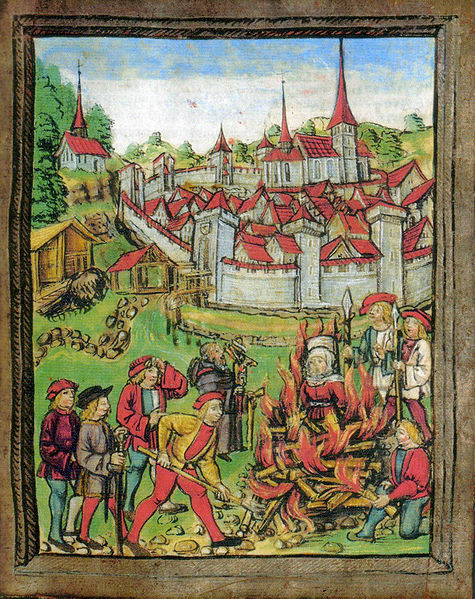 illustrating the burning of a woman in Willisau (Switzerland) in 1447