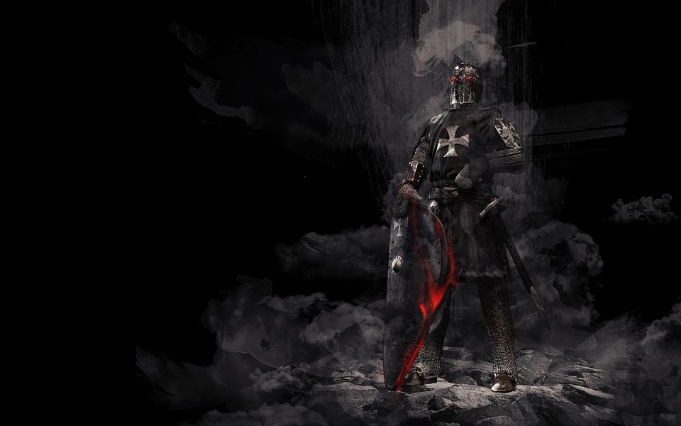 gardien médiéval  en armure .