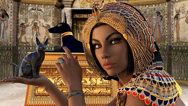 femme avec chat dans les mains coiffé a L'egyptienne