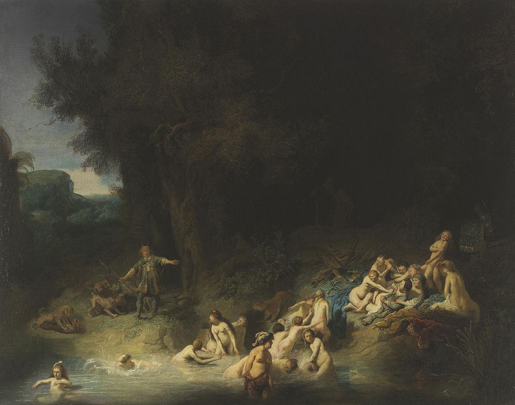 tableau de  Rembrandt, Harmenszoon van Rijn - Diana mit Aktäon und Kallisto - c.1634-1635